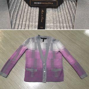BCBGMAXAZRIA purple and grey plaid cardigan XS
